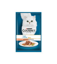 Kons. kačių ėdalas GOURMET PERLE su lašišomis ir balta žuvim, 85 g