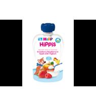 Ekol.braškių,aviečių ir obuolių tyrelė HIPP su jogurtu (6+), 100 g